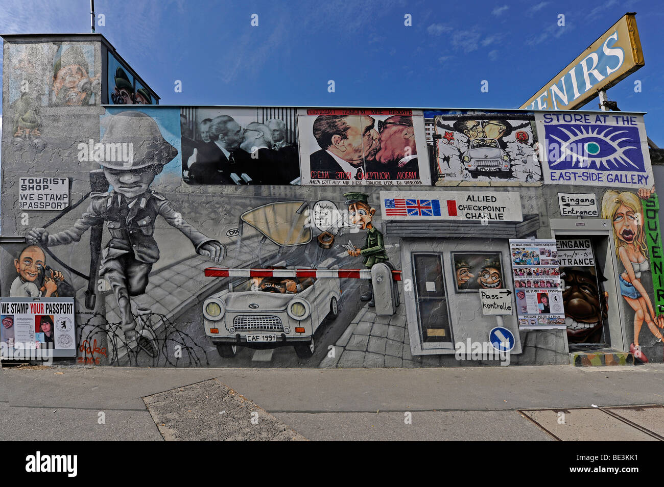 "Part of the ""East Side Gallery"", piece of the Berlin Wall painted after the Fall of the Berlin Wall, Berlin, Germany, Stock Photo"