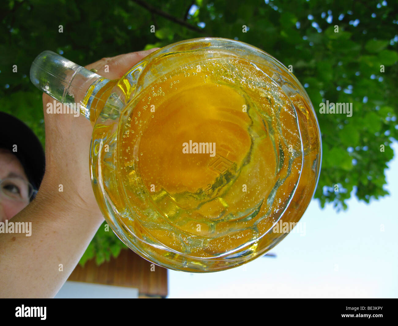 A Mass beer, two litre beer glass, Fischbach, Upper Bavaria, Bavaria, Germany, Europe Stock Photo
