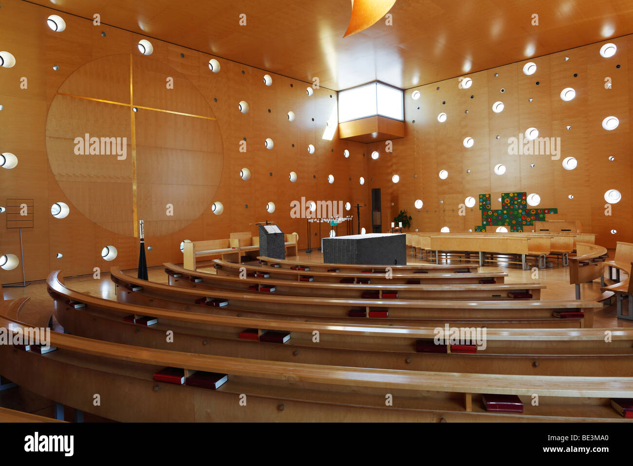'Christus, Hoffnung der Welt' Church, Donau City Church, Donau City, UNO-City in the back, Vienna, Austria, - Stock Image