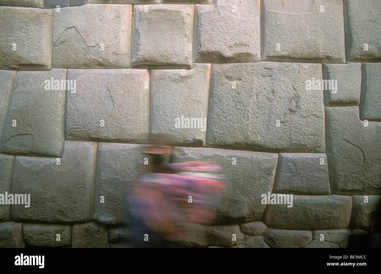Inca wall, Cuzco, Peru, South America - Stock Image
