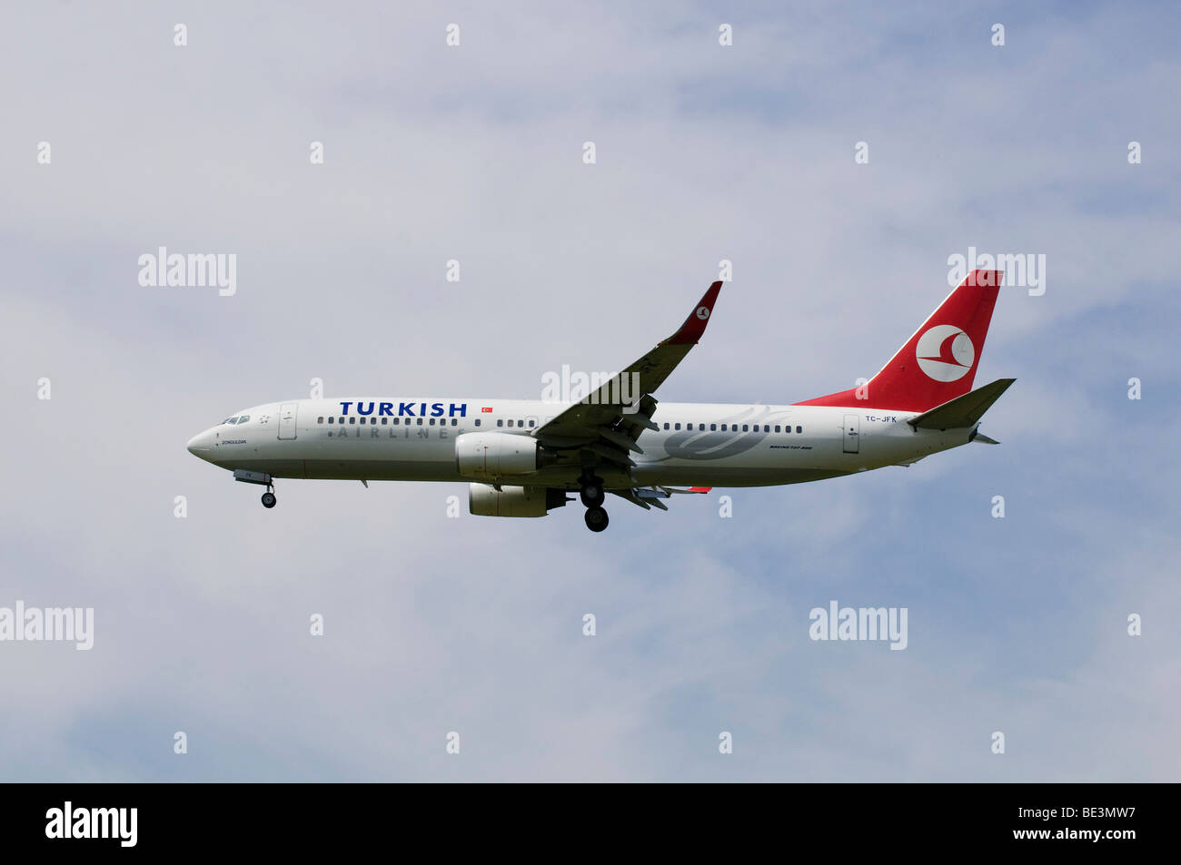 Aircraft with winglets, Turkish Airlines Boeing 737-800/8F2, ID: TC-JFK, partly Turkish state airline, Tuerk Hava - Stock Image