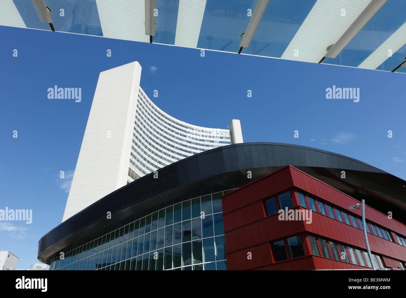 Austria Center Vienna, Donau City, UNO-City in the back, Vienna, Austria, Europe - Stock Image