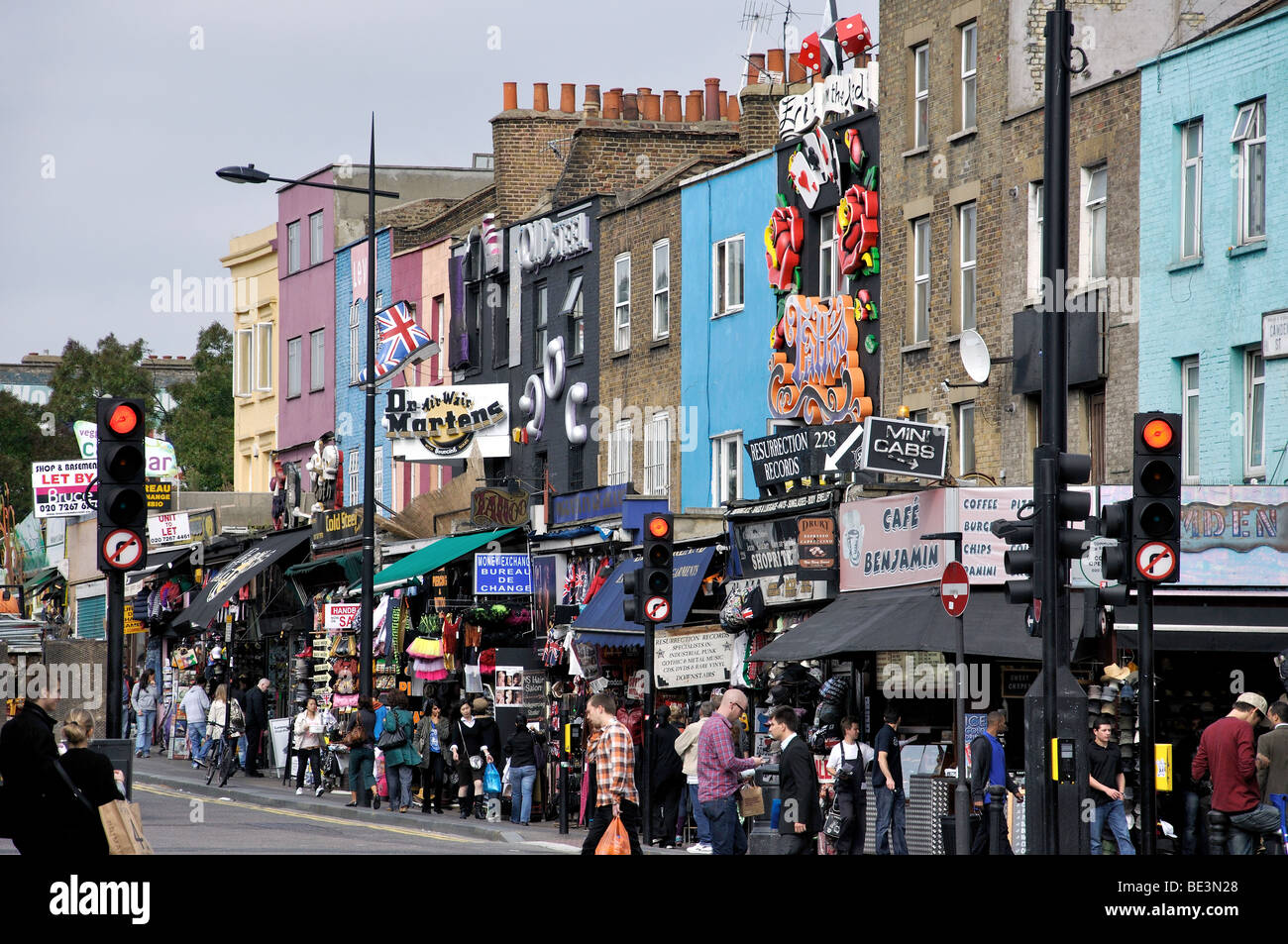 Decorated shopfronts, Camden High Street, Camden Town, London Borough of Camden, London, England, United Kingdom - Stock Image