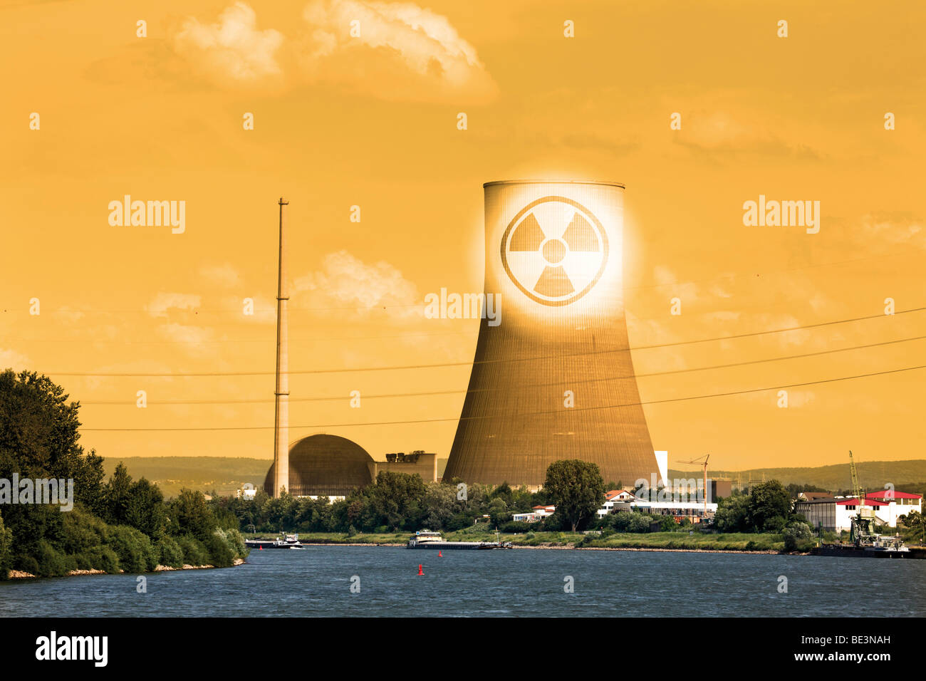 The closed nuclear power plant in Muehlheim-Kaerlich on Rhine River, composing, symbolic picture, radioactivity - Stock Image