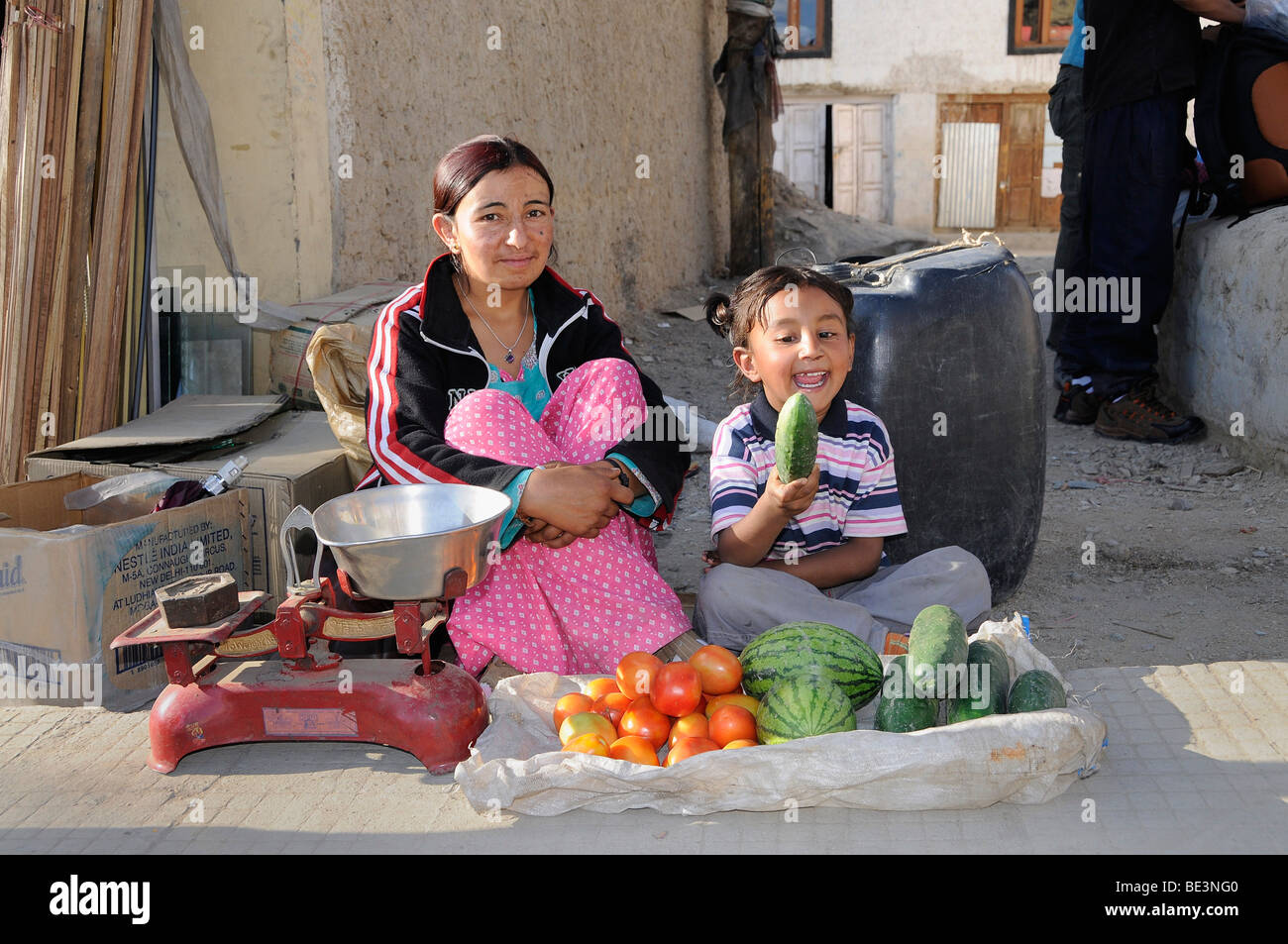 Ladakh street vendors in their small booth on the streets of Leh, Ladakh, Northern India, India, Himalayas - Stock Image