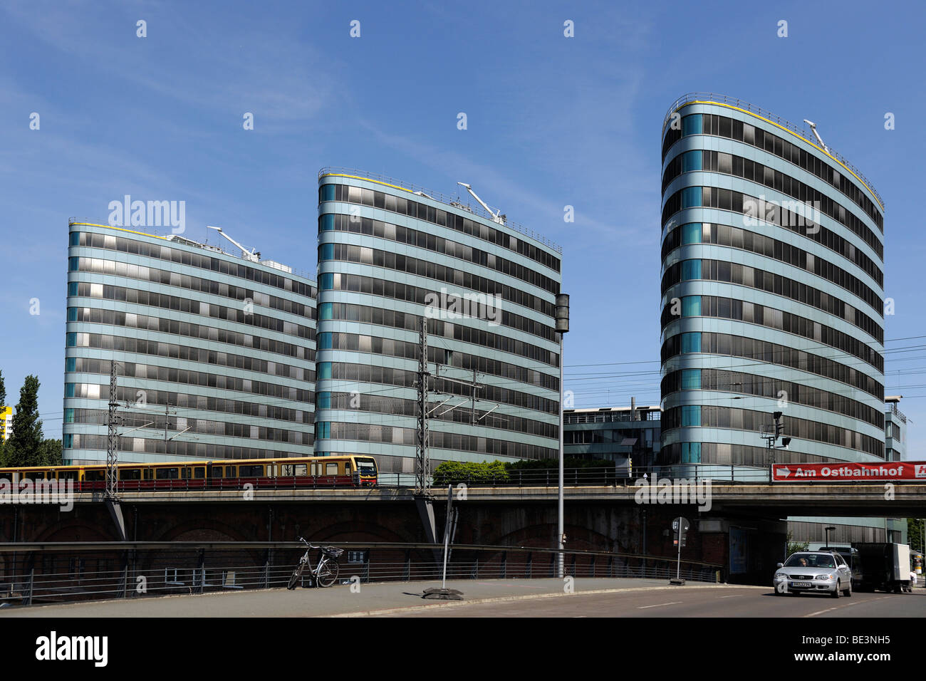 Triassic City Towers, passing S-Bahn, Berlin, Germany, Europe - Stock Image