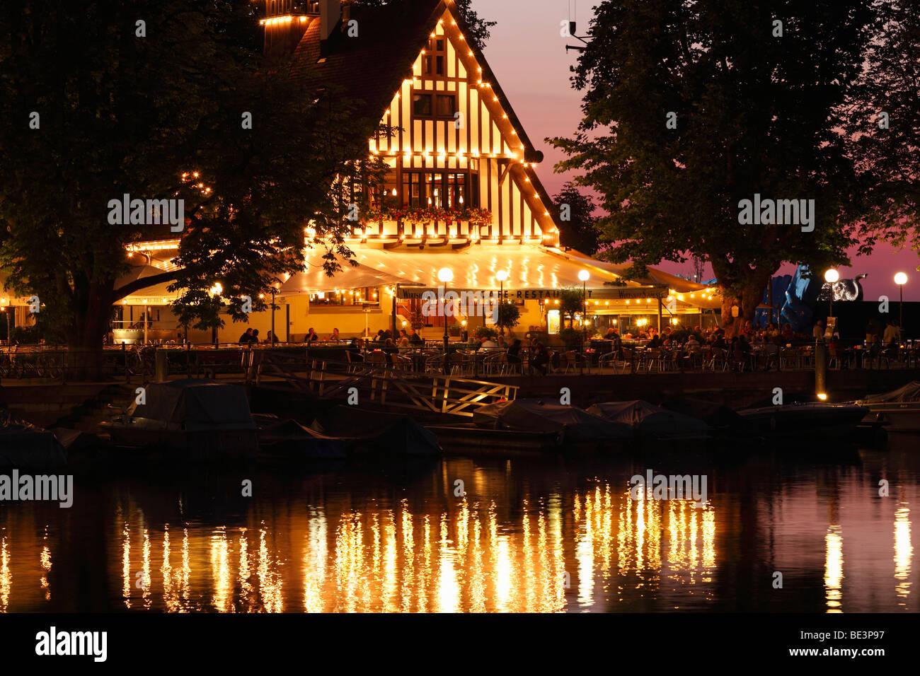 Tavern on the lake, Bregenz marina, Lake Constance, Vorarlberg, Austria, Europe Stock Photo