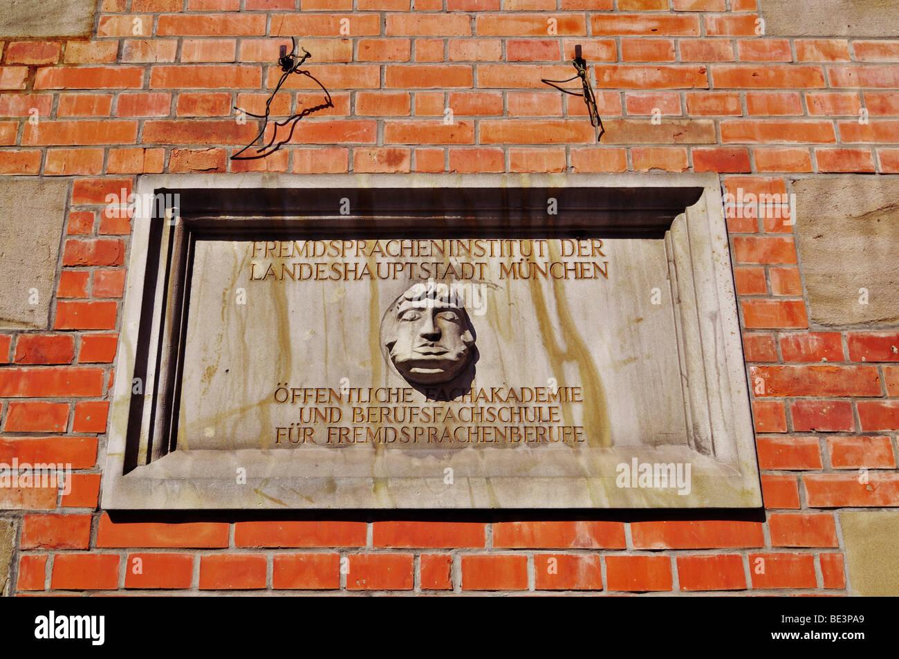 Sign of the Fremdspracheninstitut, Foreign Language Institute, Schwabing, Munich, Bavaria, Germany, Europe - Stock Image