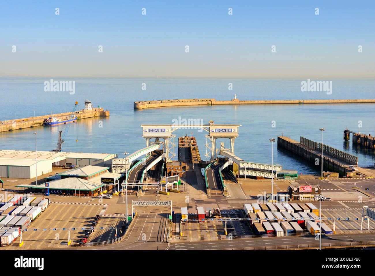 View of the Eastern Docks at the ferry port of Dover, Kent, England, UK, Europe - Stock Image