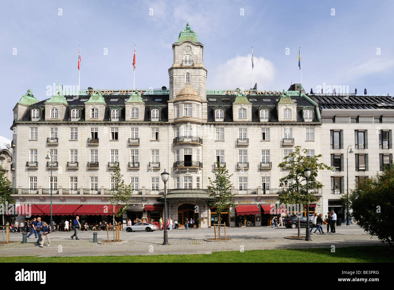 Grand Hotel and Grand Cafe at Karl Johans Gate, Oslo, Norway, Scandinavia, Northern Europe - Stock Image