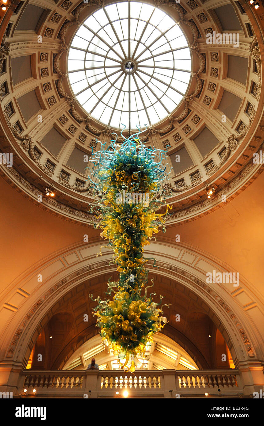 Lavish glass object beneath the dome in the entrance hall of the Victoria & Albert Museum, 1-5 Exhibition Road, - Stock Image