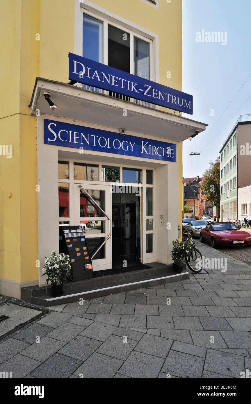 Fendstrasse street, entrance to the Church of Scientology Dianetics Center, Munich, Bavaria, Germany, Europe - Stock Image