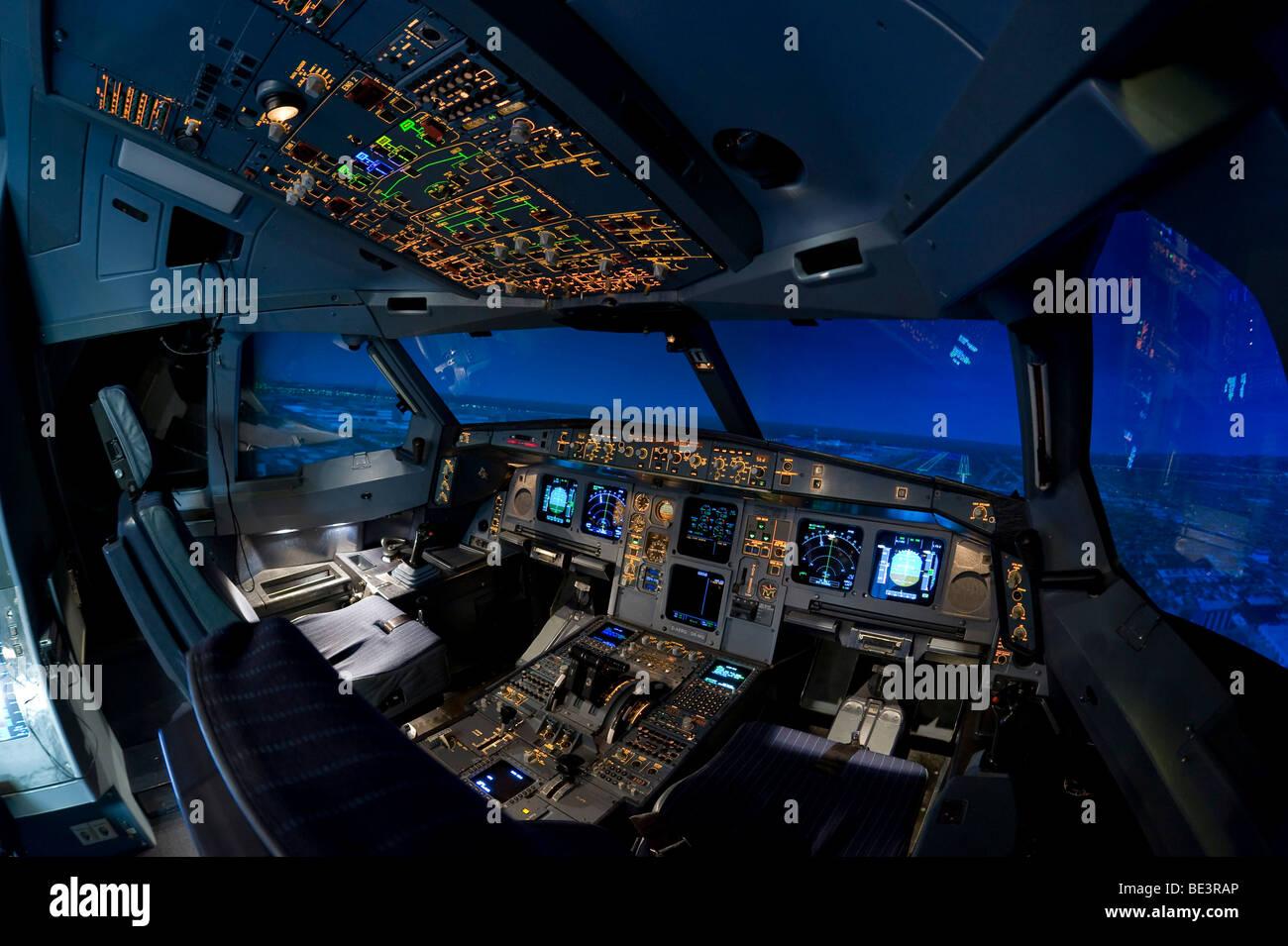 Zentrum fuer Flugsimulation Flight Simulation Center Berlin, ZFB, cockpit of an Airbus A330/340 flight simulator, - Stock Image