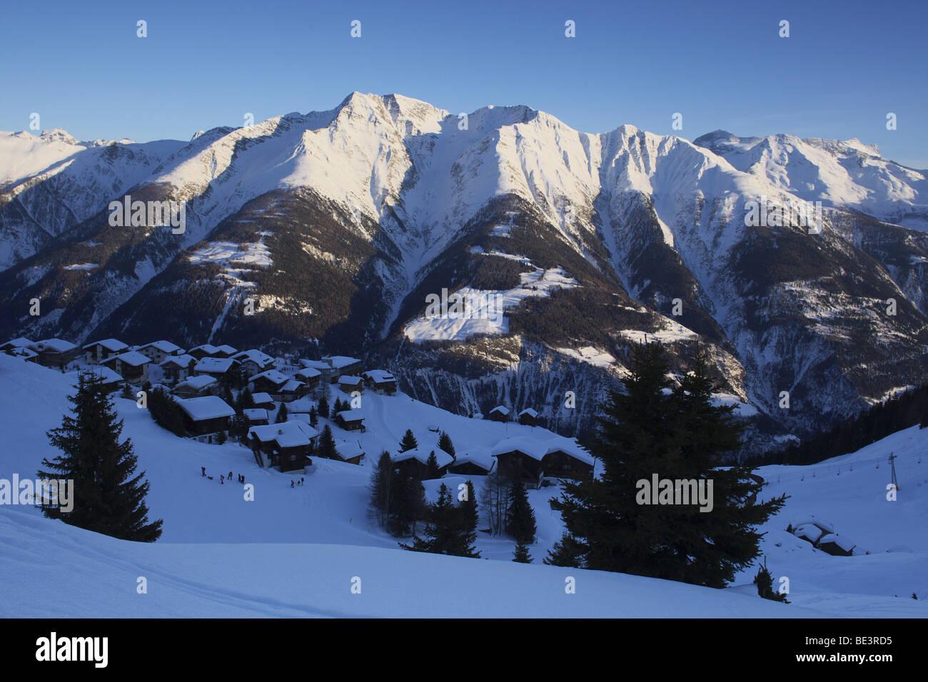Mt Riederalp in winter, Aletsch Glacier, UNESCO World Heritage Site, Valais, Switzerland, Europe Stock Photo