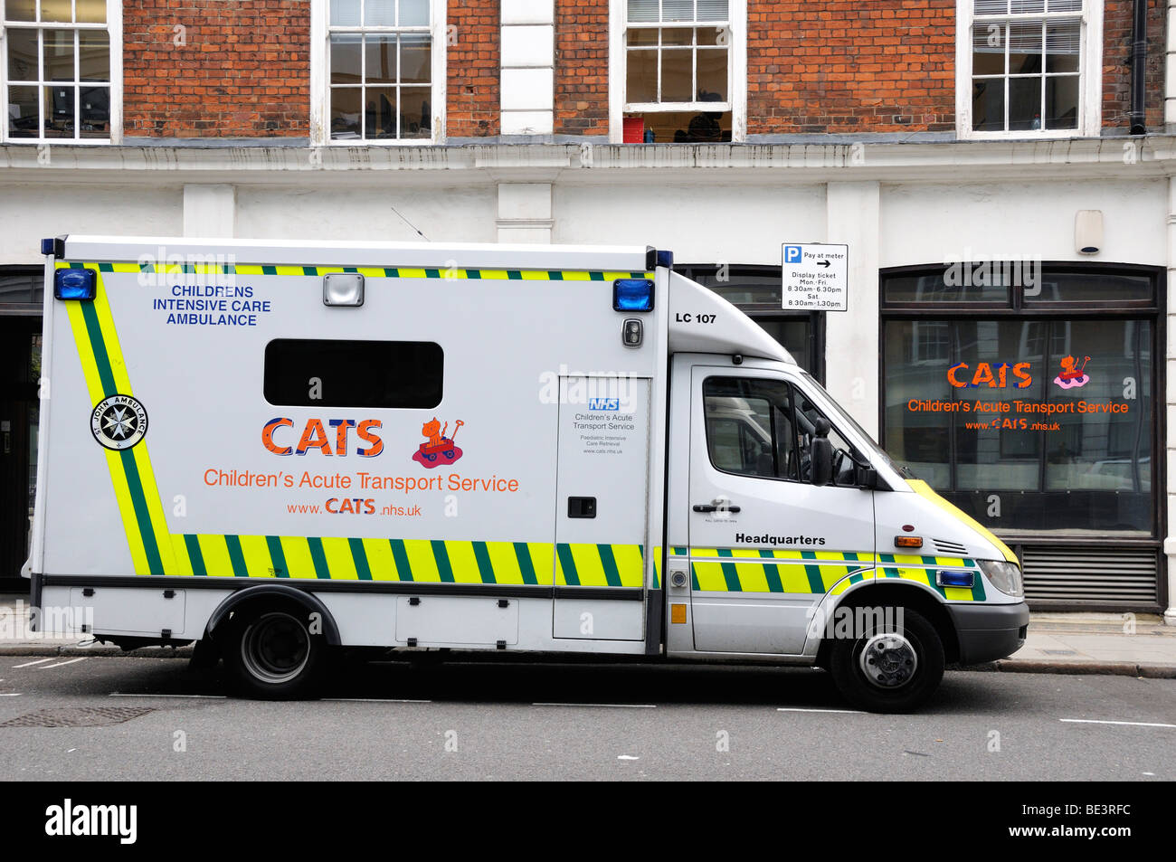 Children's Acute Transport Service in front of C.A.T.'s offices London England UK - Stock Image