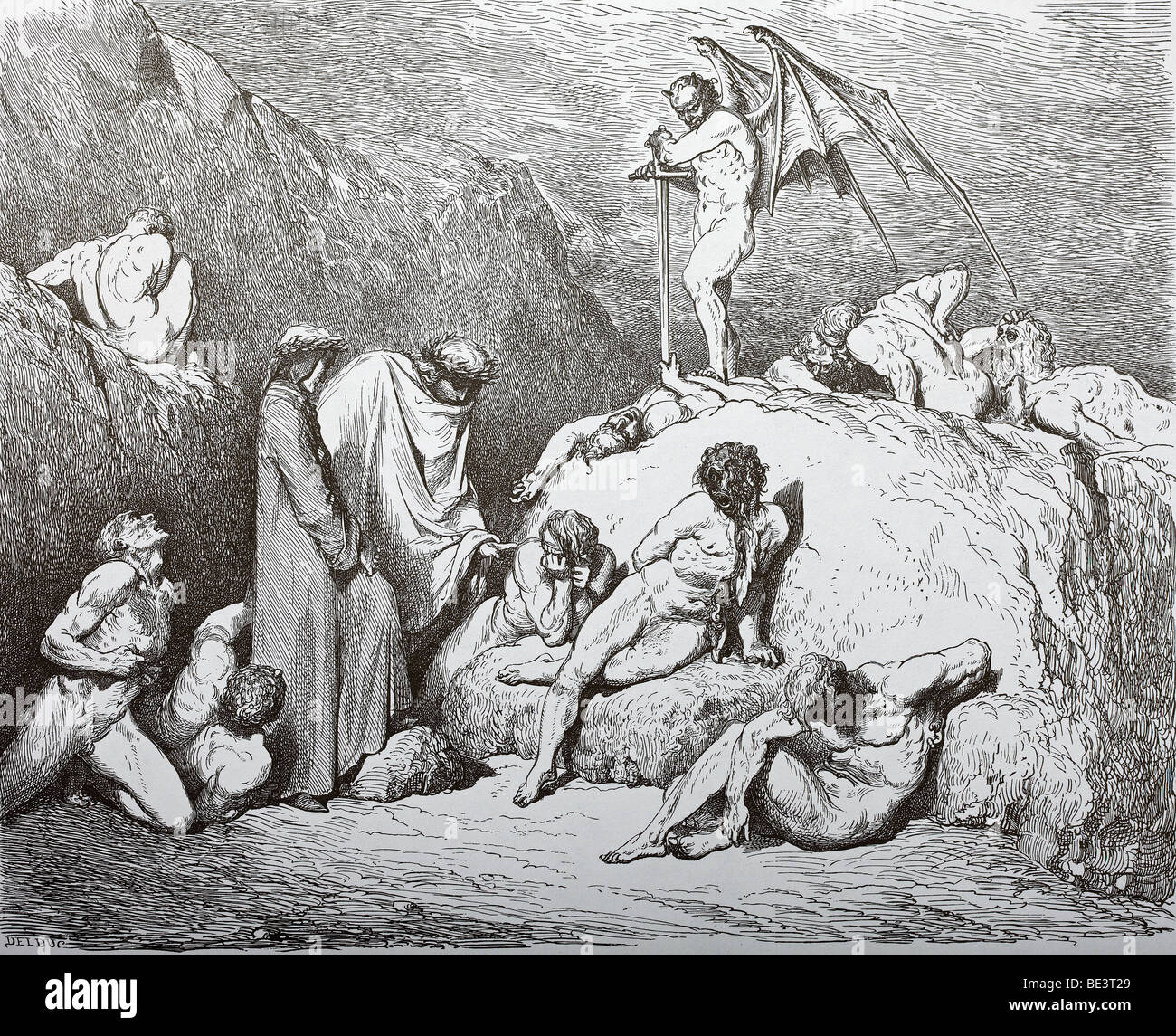 Gustave Dore's Illustration 'Sower of Discord' from Dante's Divine Comedy - Stock Image