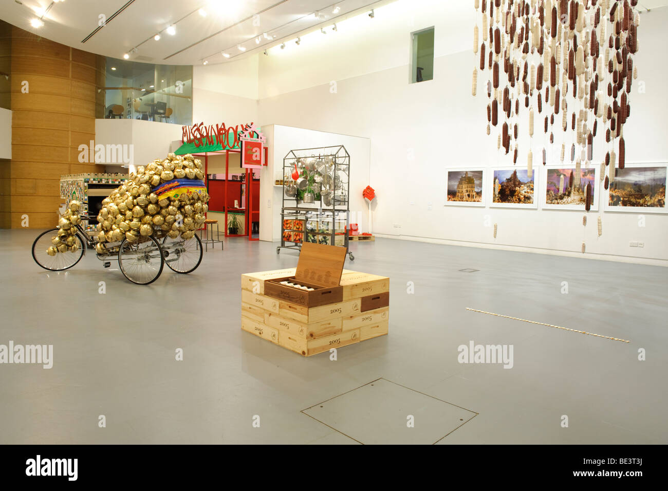 Pot Luck - Art and Food : exhibition of work at Aberystwyth Arts Centre, Wales UK - Stock Image