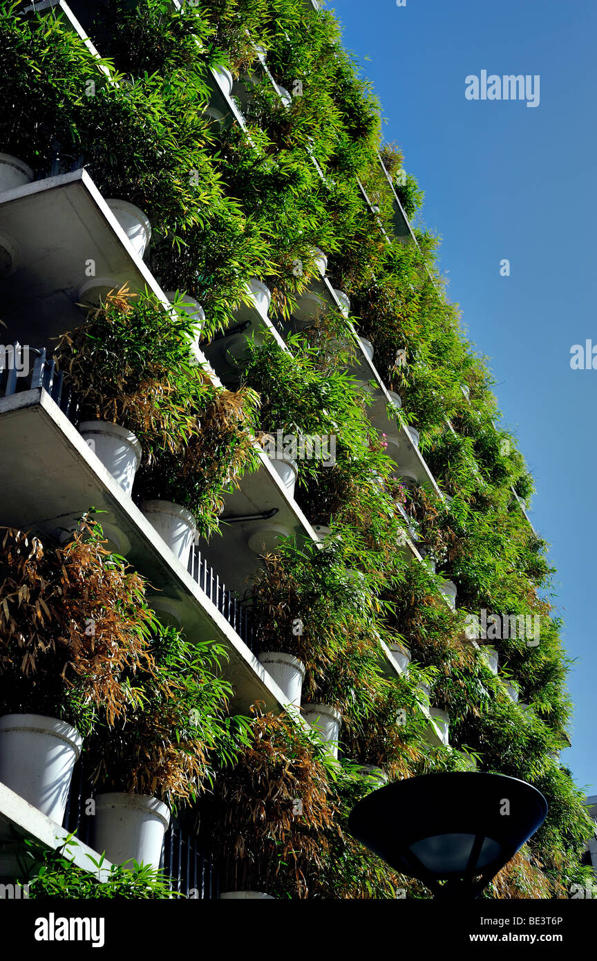 Paris, France, Real Estate, housing 'Tower Flower' Apartment Tower, Architectural Detail, Ecological Design, - Stock Image
