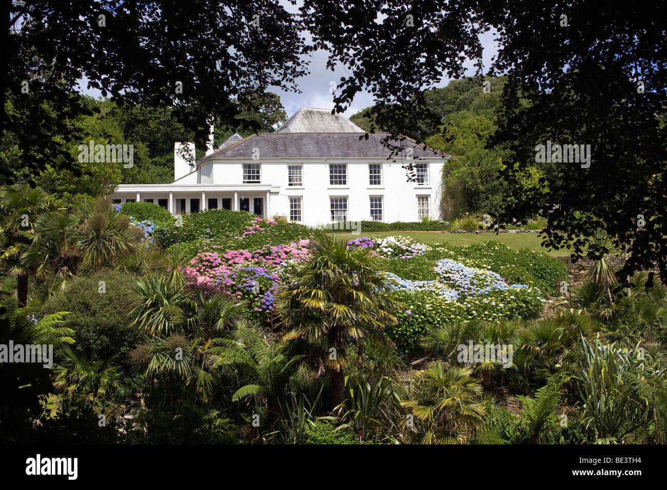 trebah garden and house; cornwall; in summer - Stock Image