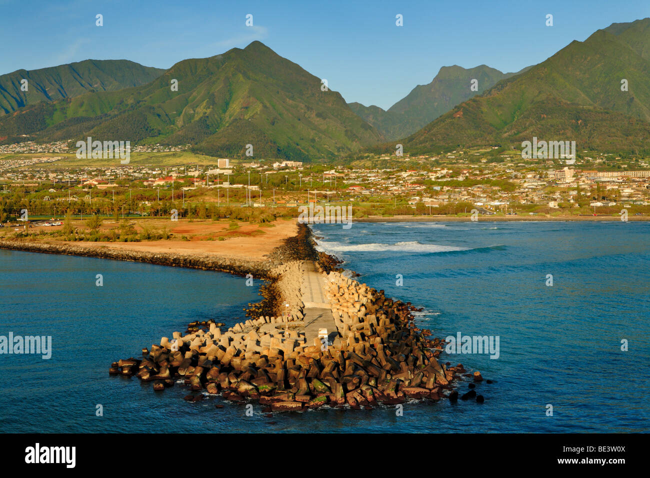 Breakwater as seen from cruise ship entering port of Kahalui, Maui, Hawaii, USa. Stock Photo