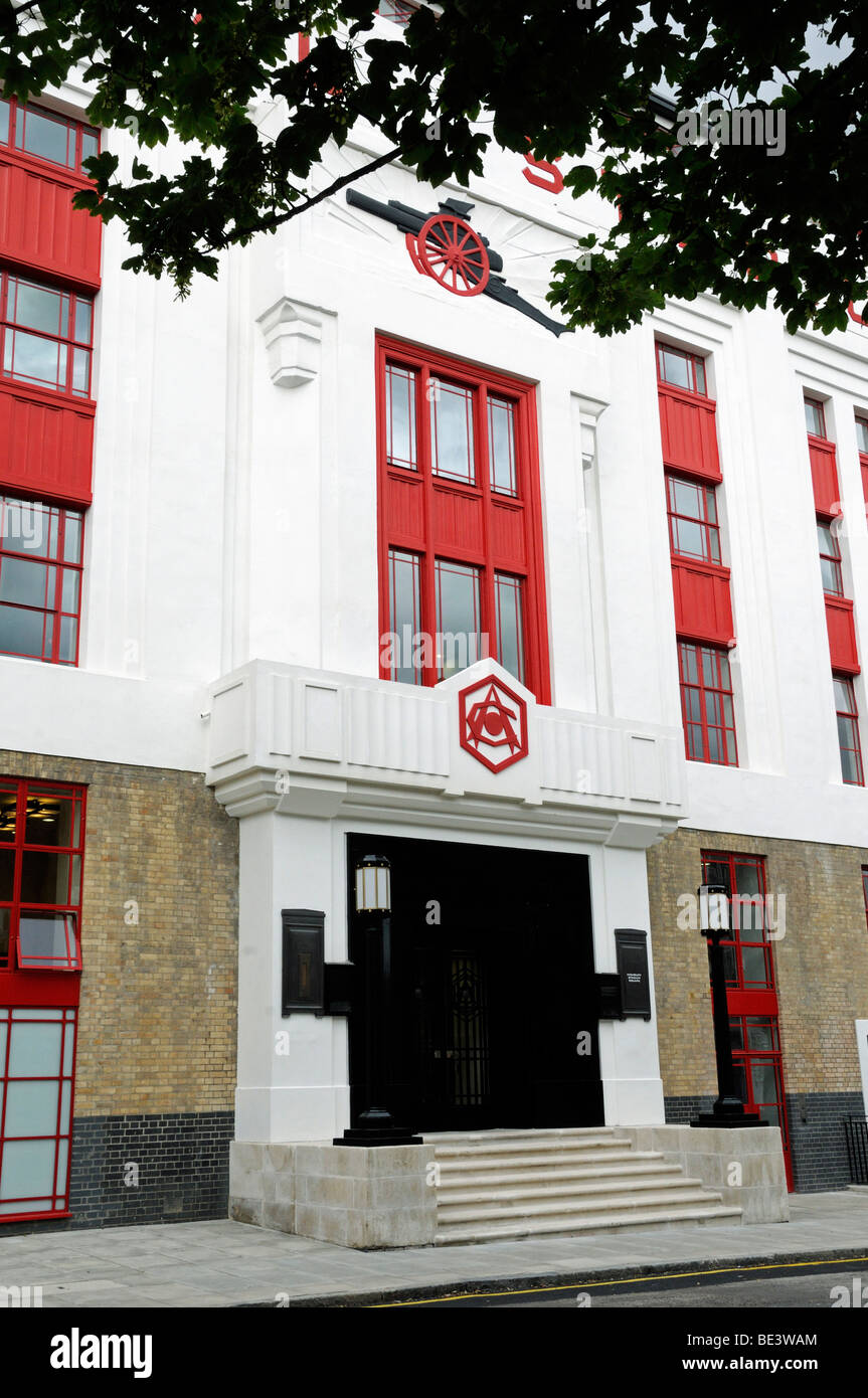 Front entrance of Highbury Stadium Square Arsenal's old stadium now converted into luxury flats Islington London - Stock Image