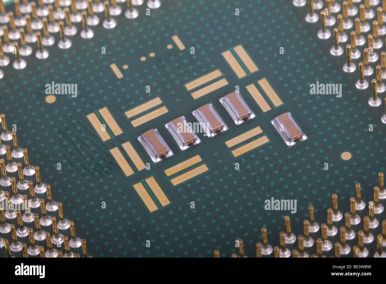 Macro of a computer processor with some fine details. - Stock Image