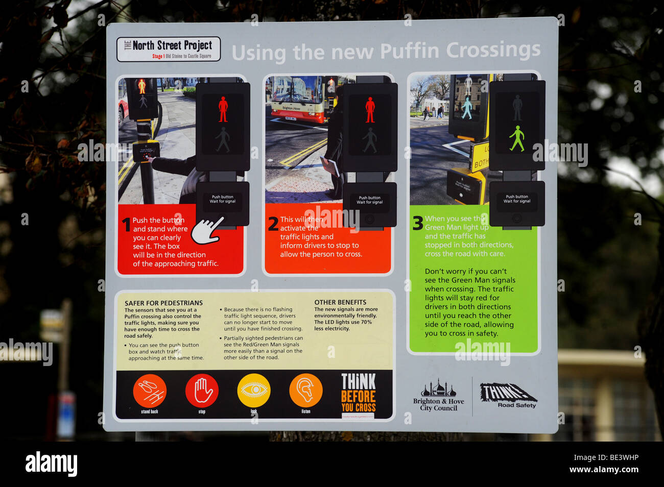 Instructions on how to use a new puffin crossing at the bottom of north street in brighton - Stock Image