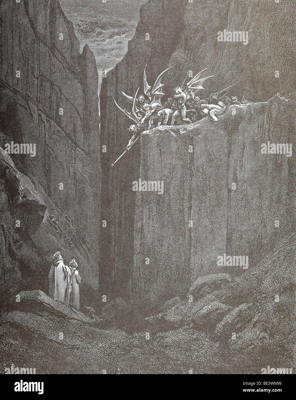 Gustave Dore's Illustration 'Tumult and Escape' from Dante's Divine Comedy - Stock Image