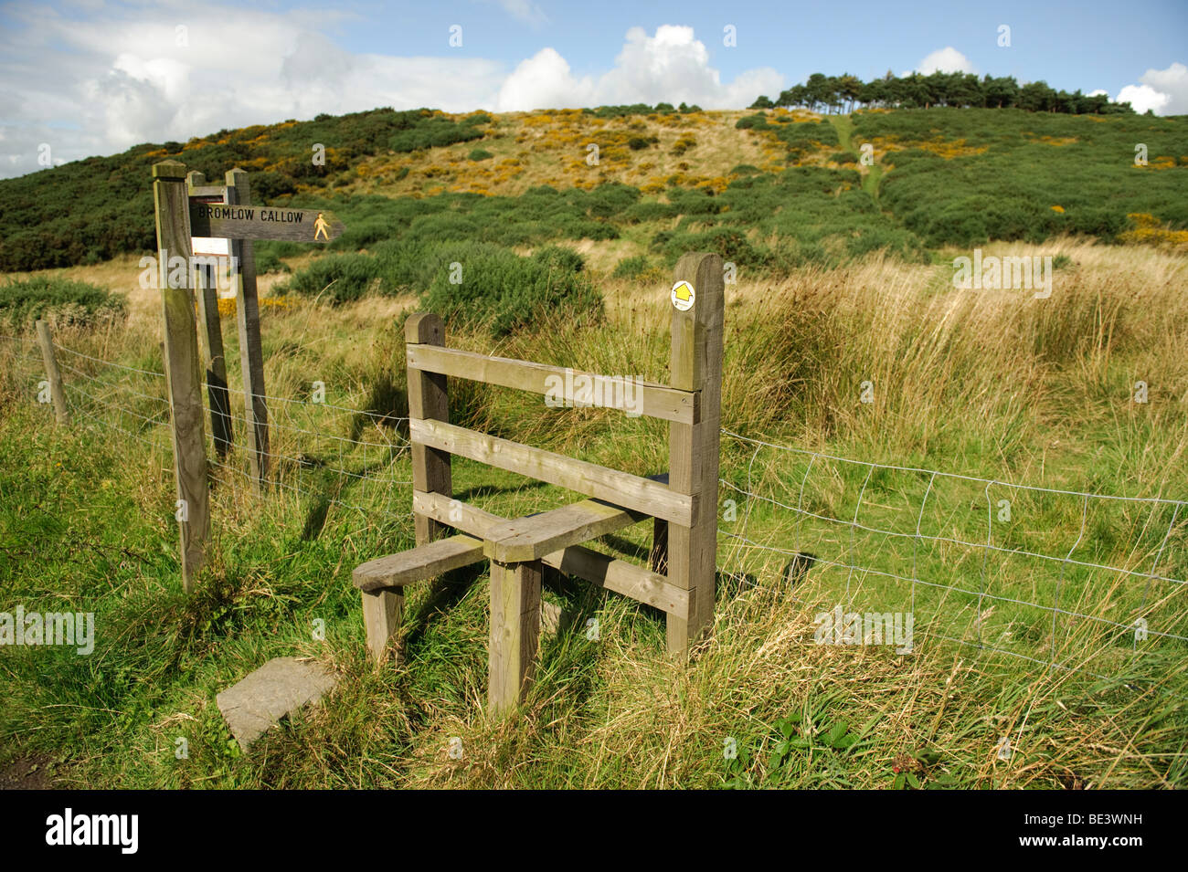 Bromlow Callow - wooden stile on a  public footpath, Shropshire England UK - Stock Image