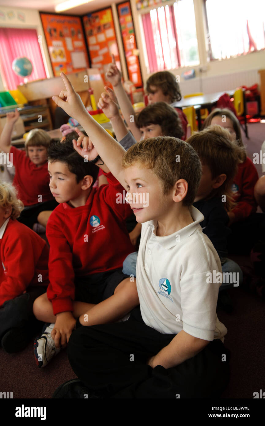 Year 3 Young children in a Welsh language medium primary school, Wales UK - Stock Image