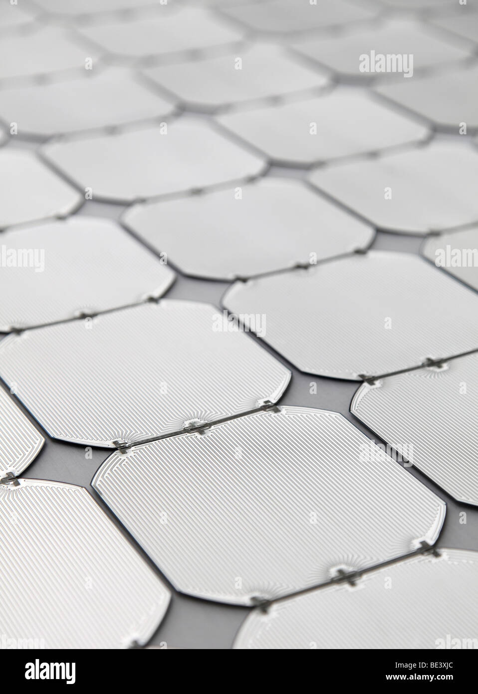 Solon SE: production of solar panels. Electric circuits on solar cells, BERLIN, GERMANY - Stock Image