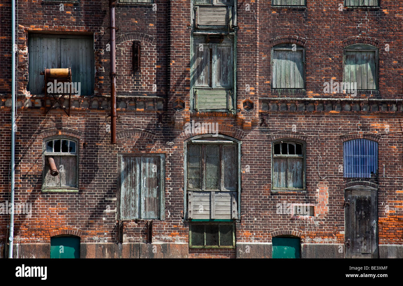 Detail of the fassade of an old storehouse in Wismar, Germany - Stock Image