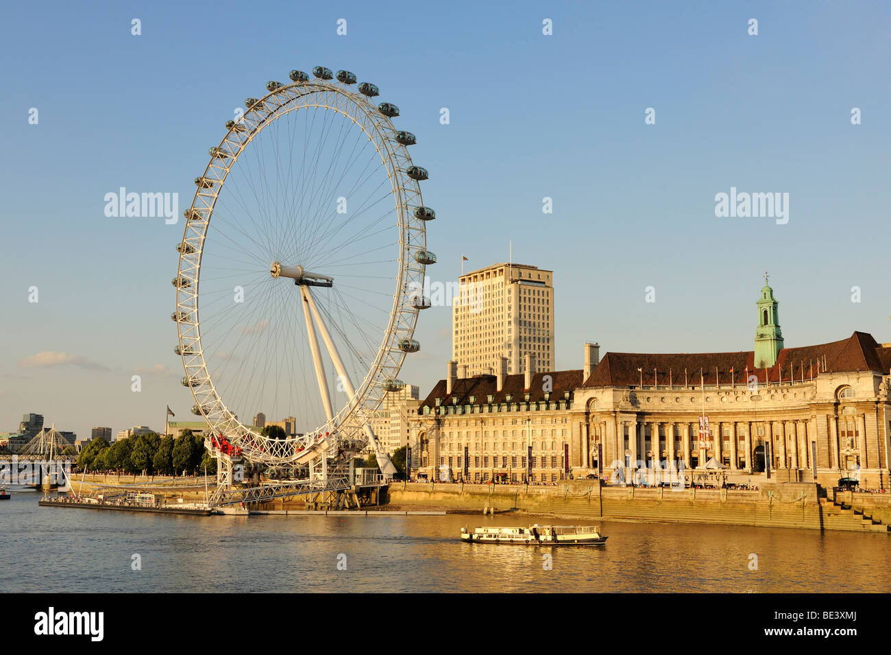 View over the River Thames to the 135 meter high London Eye or Millennium Wheel, London, England, United Kingdom, - Stock Image