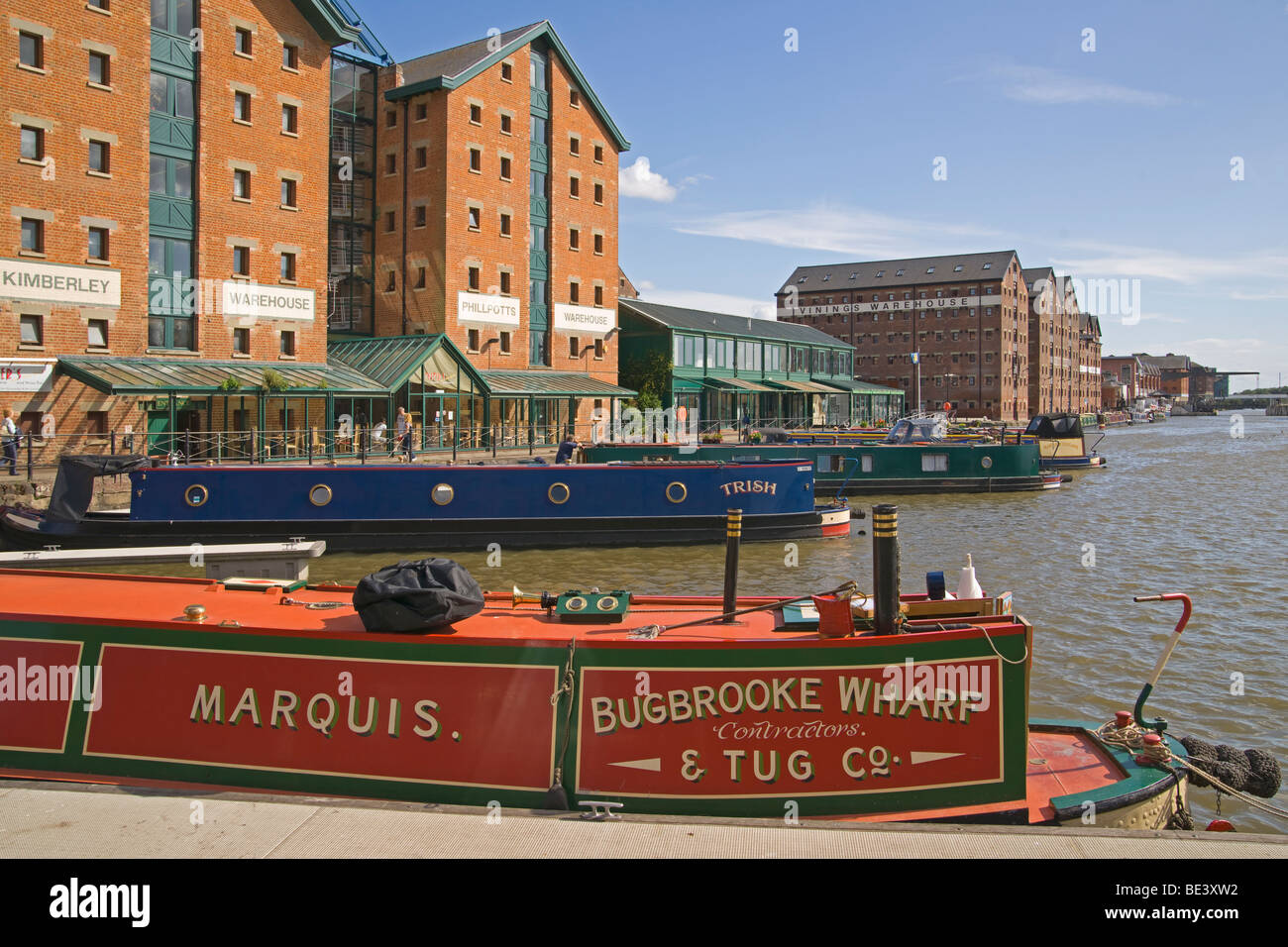 Gloucester docks, houseboats, urban renewal, Gloucestershire, Cotswolds, England, July, 2009 - Stock Image