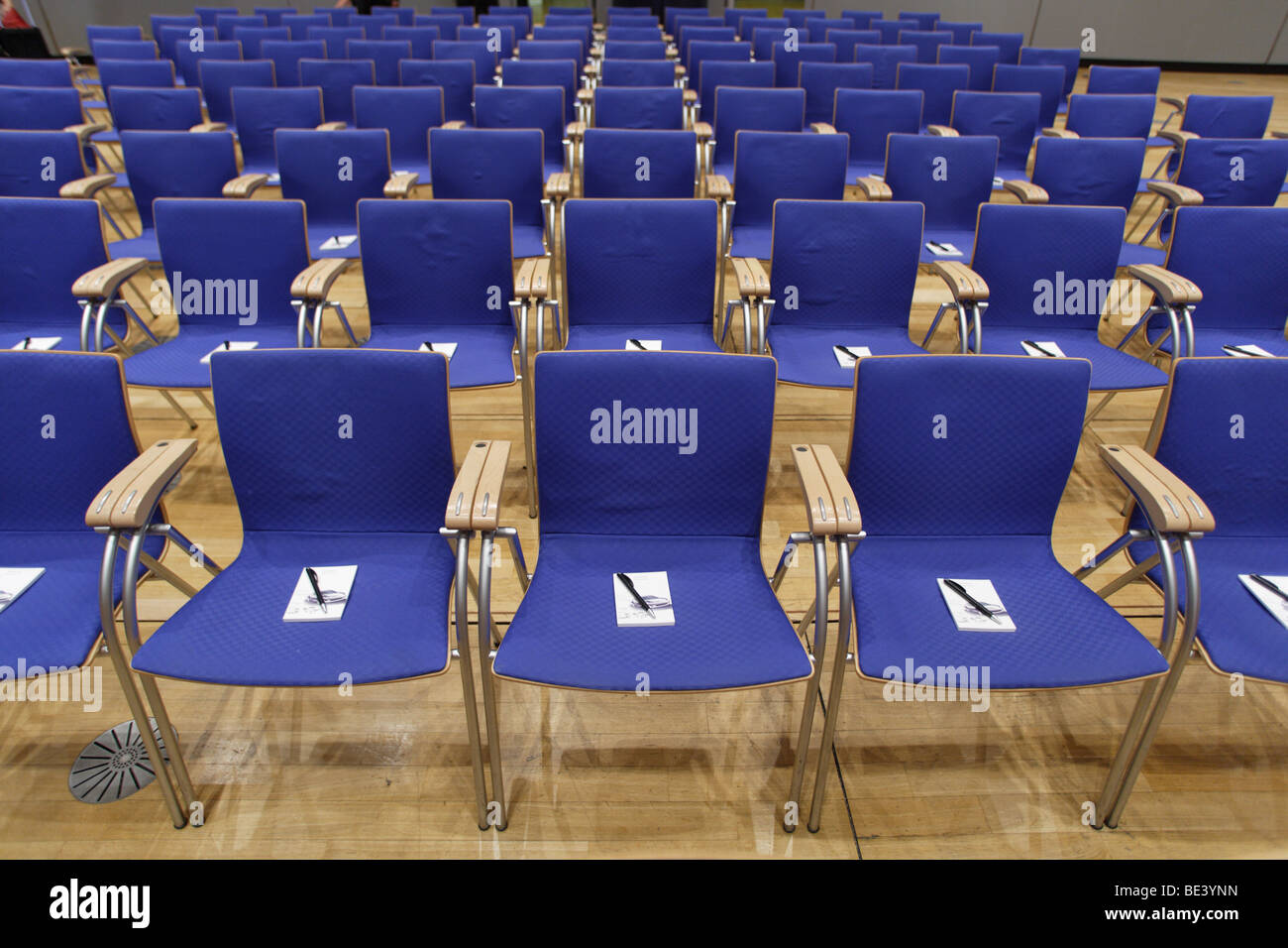 63th International Motor Show ( IAA ): Empty seat rows in a conference room - Stock Image