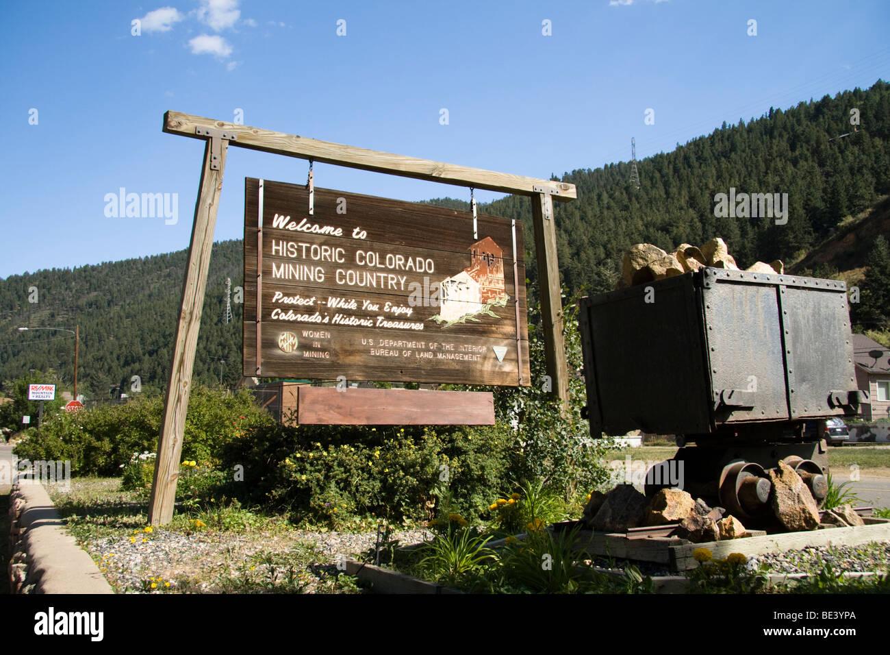 Historic Colorado Mining Country sign, Colorado, USA - Stock Image