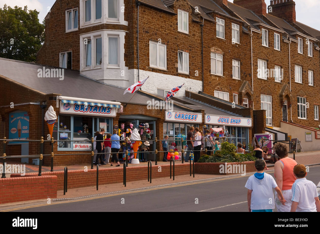 Britains largest joke shop store in Hunstanton , North Norfolk , Uk with holidaymakers in the summer - Stock Image