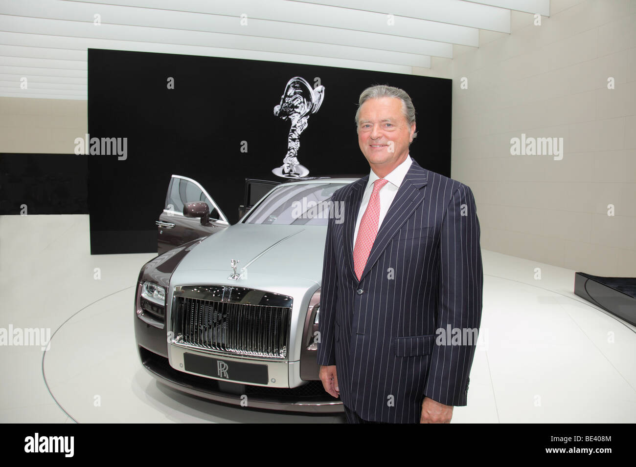 63th International Motor Show ( IAA ): Tom Purves, CEO of Rolls-Royce, presenting the new car model - Ghost - - Stock Image