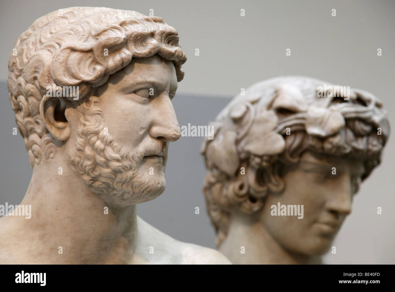 Marble busts of the Emperor Hadrian and his lover Antinous- the British Museum - Stock Image