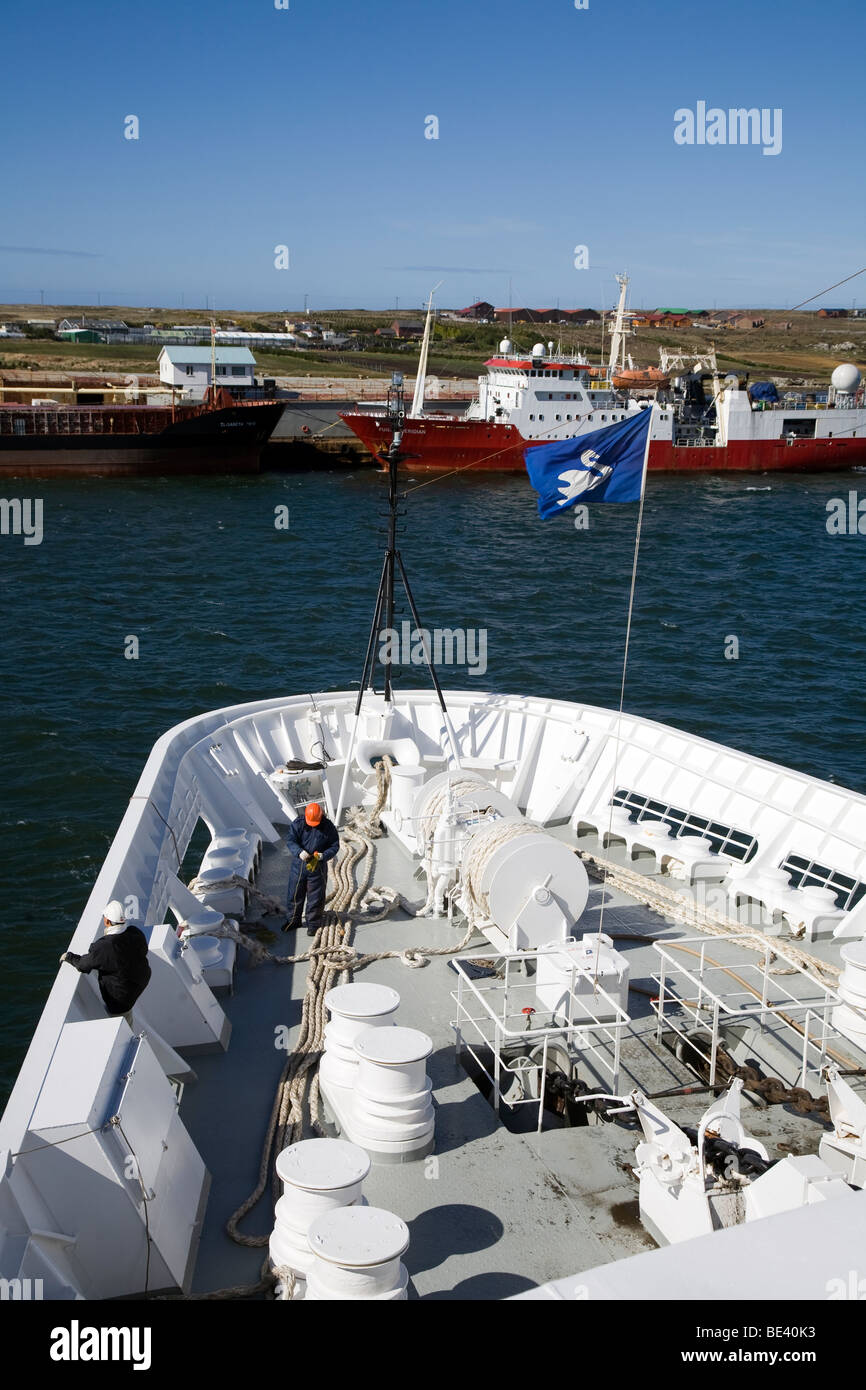 The M/V Minerva approaching the dock at Port Stanley, Falkland Islands Stock Photo