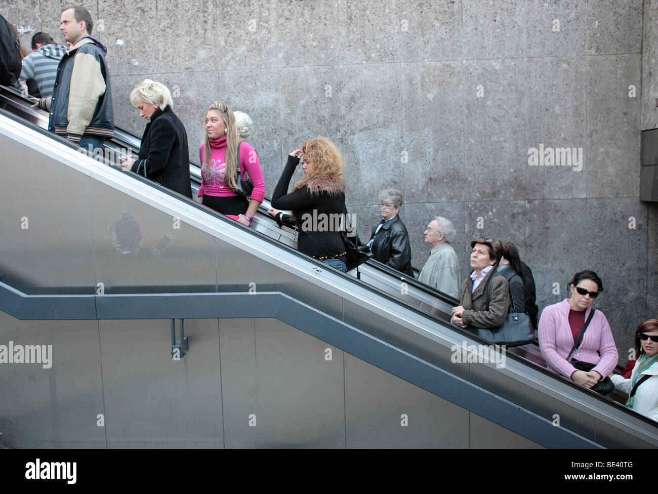 Rolltreppe am Stachus in Muenchen . Stock Photo