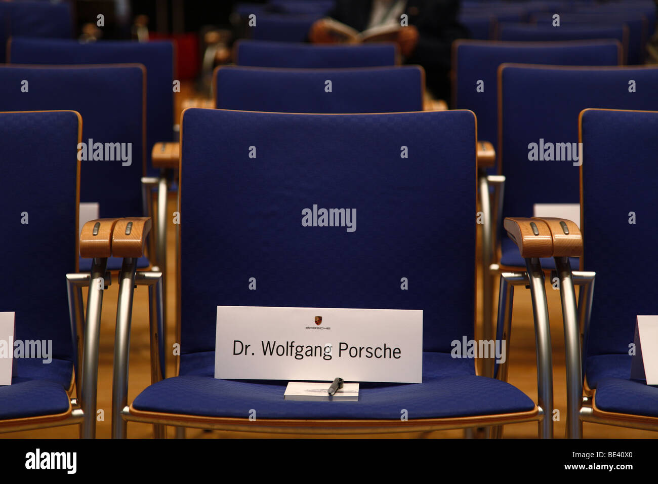 63th International Motor Show ( IAA ): Empty seat rows in a conference room with the name of Dr. Martin Porsche - Stock Image