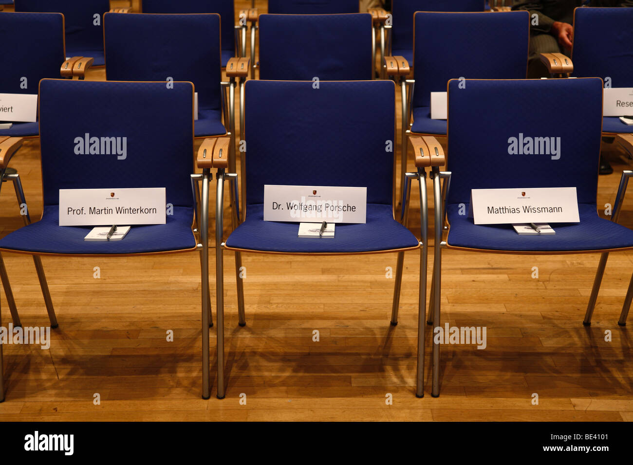 63th International Motor Show ( IAA ): Empty seat rows with the names of Prof. Martin Winterkorn, Wolfgang Porsche - Stock Image