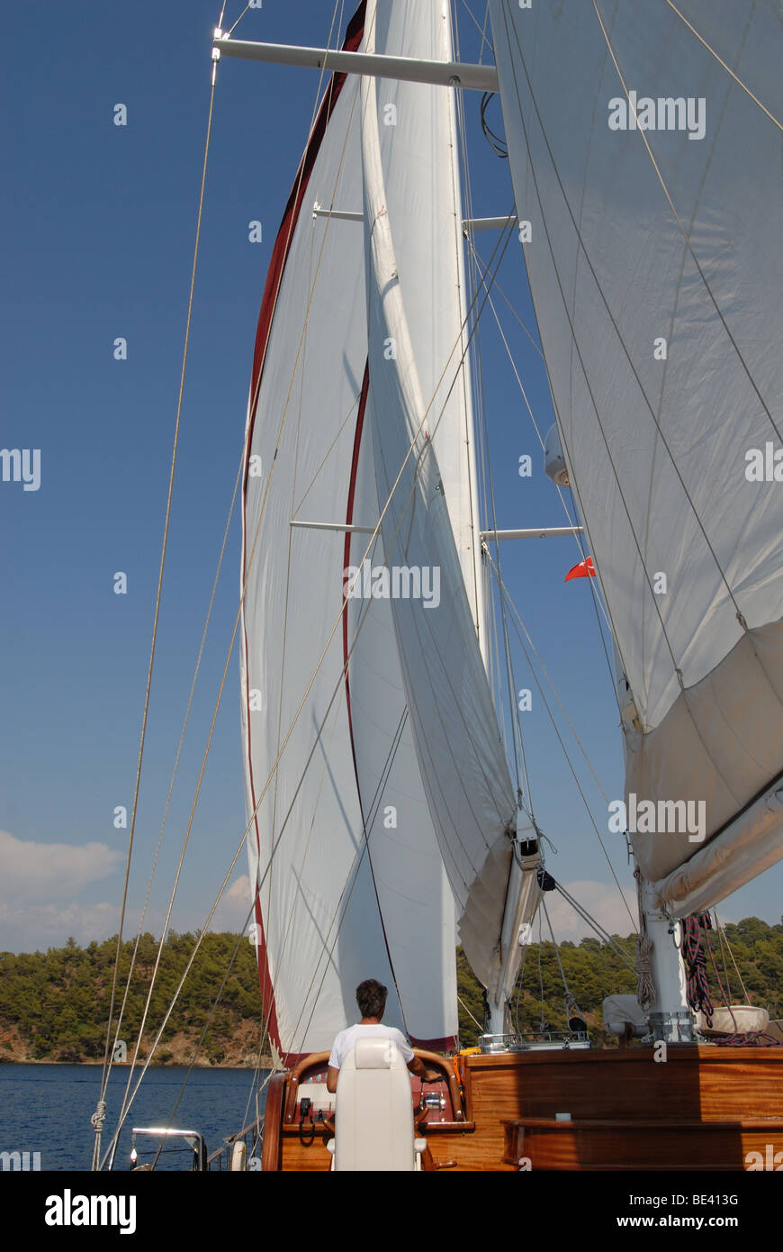 wooden luxury sailboat sailing at the  Mediterranean Sea - Stock Image