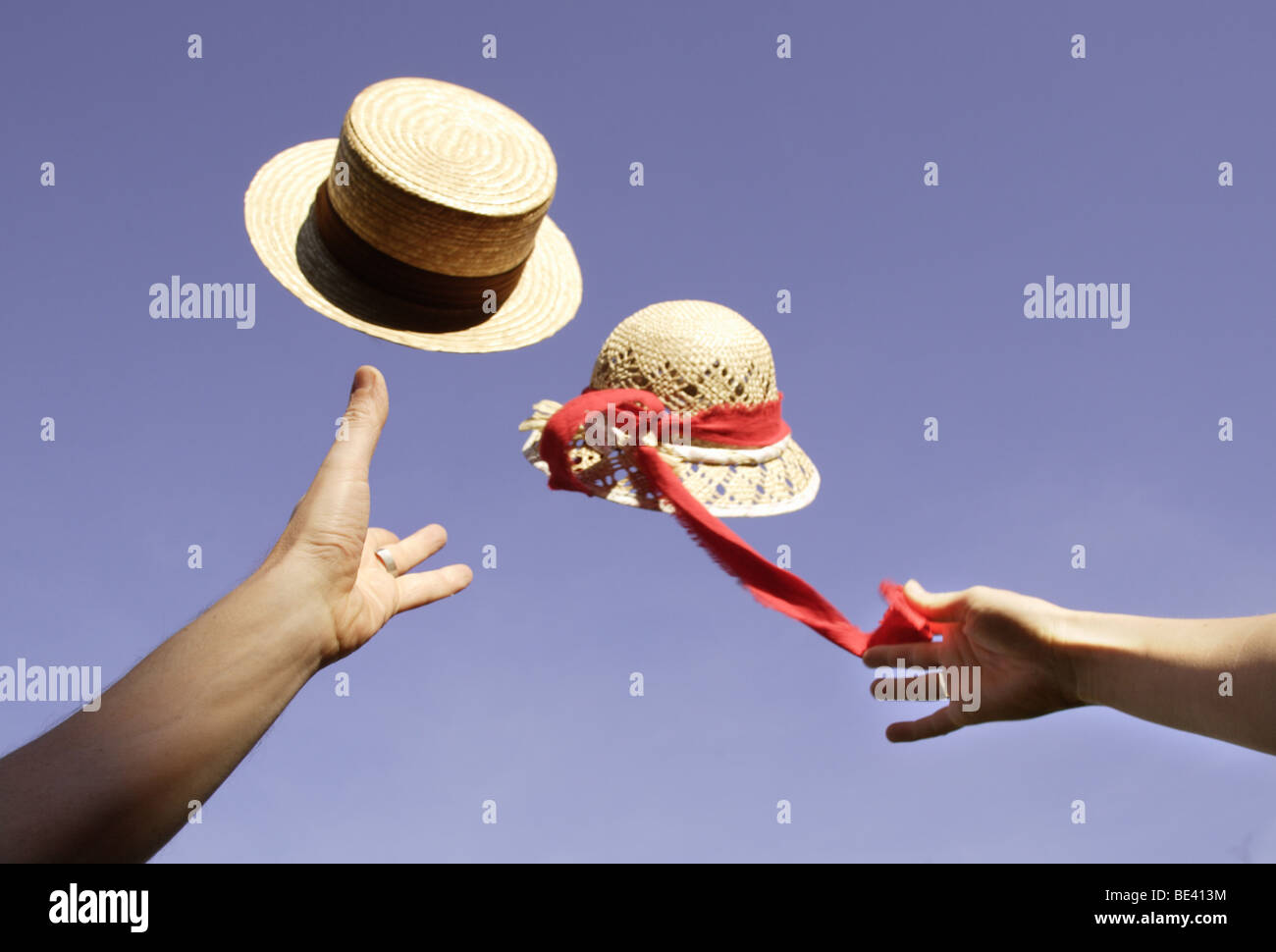 FlYING HATS. - Stock Image