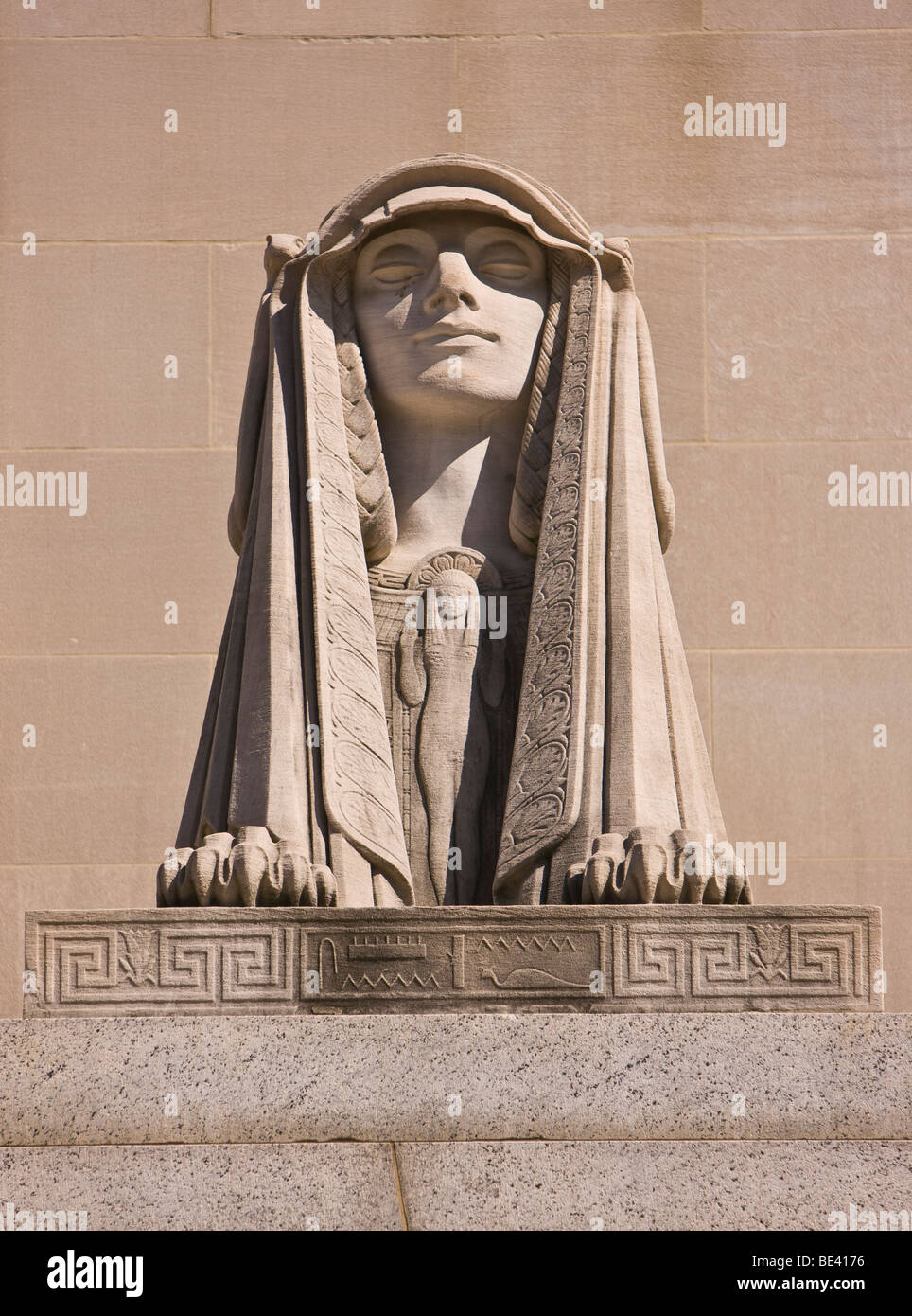WASHINGTON, DC, USA - Sphinx at Scottish Rite of Freemasonry building, also known as the House of the Temple - Stock Image