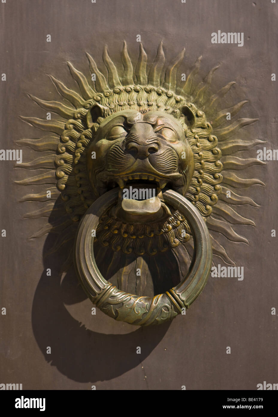 WASHINGTON, DC, USA - Door knocker at entrance to Scottish Rite of Freemasonry building, also known as the House - Stock Image