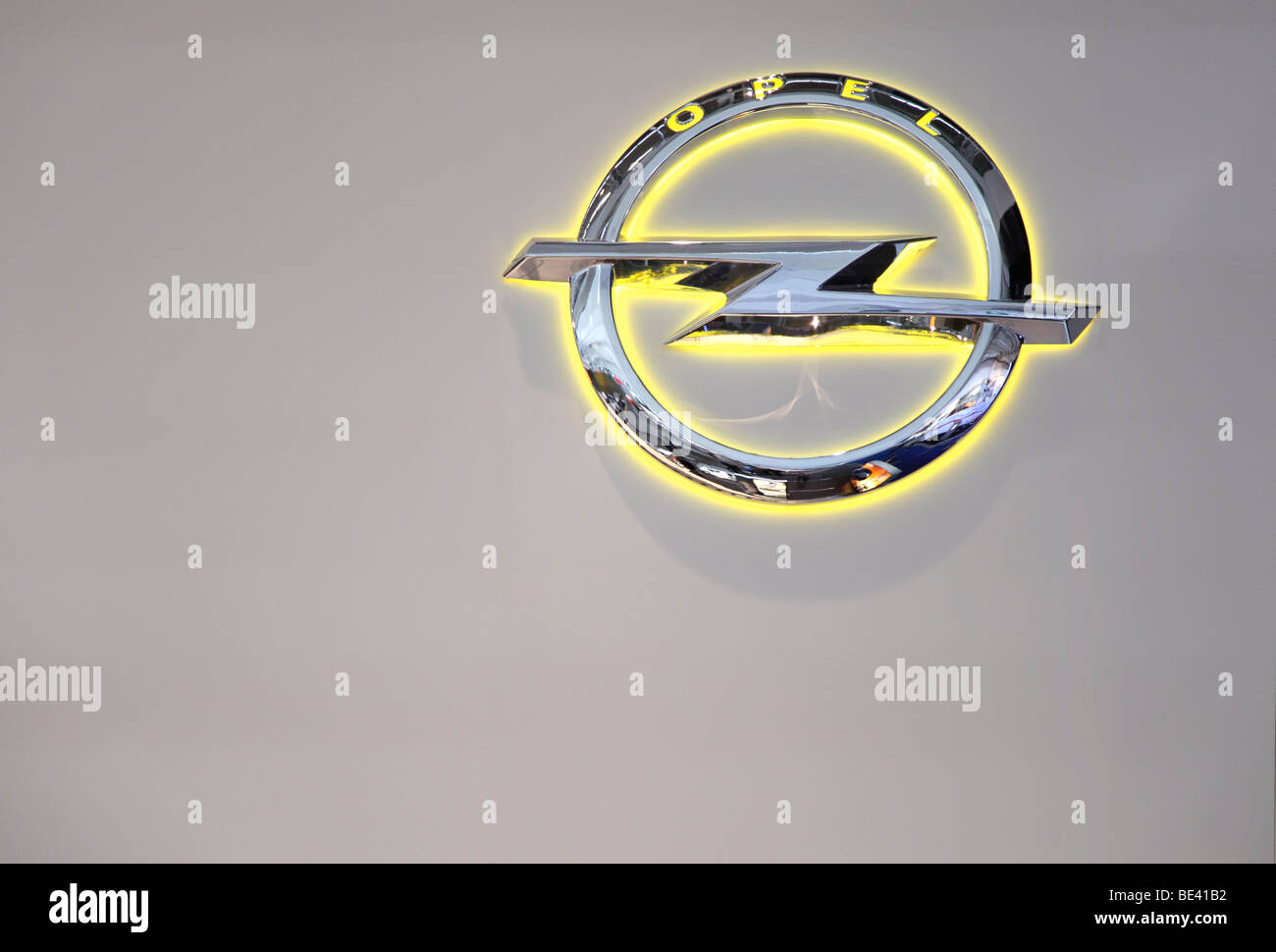 63th International Motor Show ( IAA ): The new Logo of the car manufacturer Opel - Stock Image