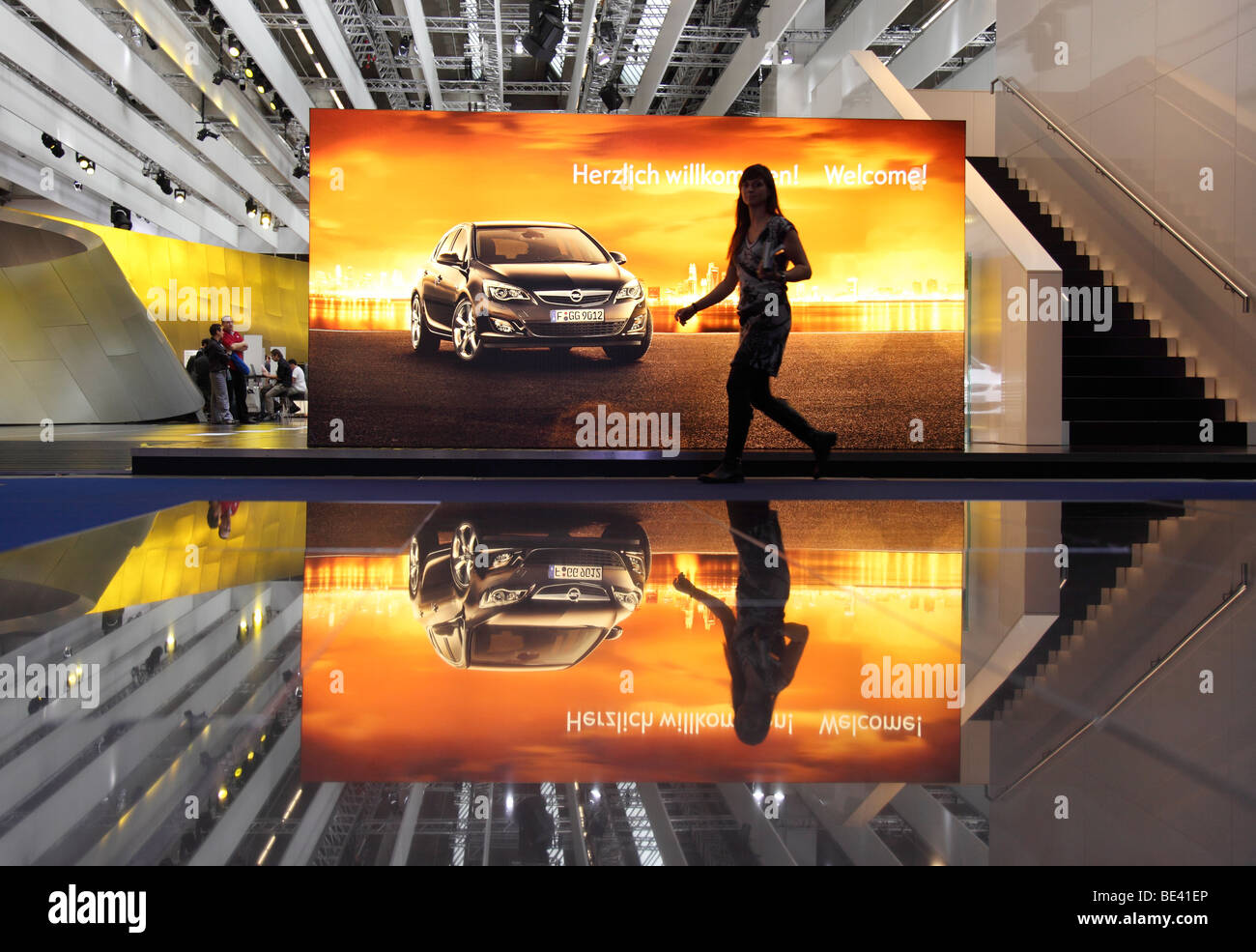 63th International Motor Show ( IAA ): Advert of the car manufacturer Opel welcomes the visitors - Stock Image