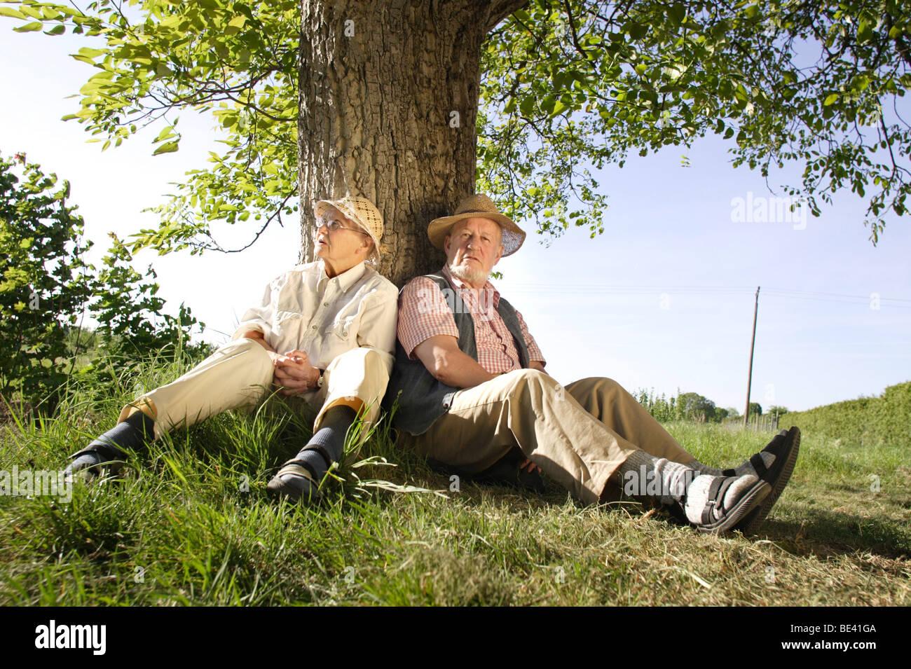Ein Seniorenpaar sitzt unter einem Baum . Heidelberg , Stock Photo